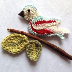 Cath Kidston Garden Birds inspired crochet bird by rubyandcustard.com