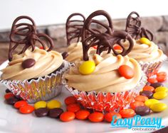 """""""Love you to pieces"""" Chocolate Peanut Butter Cupcakes,w/ Peanut Butter frosting decorated w/ reeses pieces and chocolate hearts"""