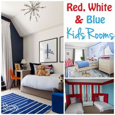 Many ideas for red, white and blue kids rooms - Design Dazzle