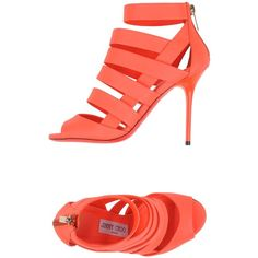 Jimmy Choo London Sandals ($395) ❤ liked on Polyvore featuring shoes, sandals, coral, zip shoes, neon shoes, genuine leather shoes, rubber sole shoes and neon sandals