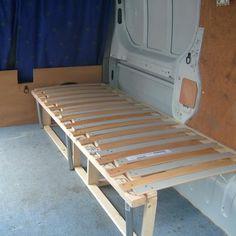 Resultado de imagen de fold out bed from wall for camper Ford Transit, Transit Camper, Iveco Daily Camper, Truck Bed Camper, T5 Camper, Caddy Van, Fold Out Beds, Vw Caddy Maxi, Adjustable Bed Frame