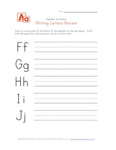 writing letters f to j