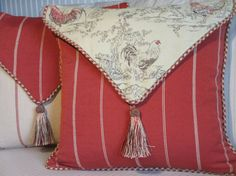 French Country Pillow Cover, Rooster Pillow, Red and Beige/Gold Reversible Pillow, Stripes, Tassel, Envelope Style Throw Pillow, 18 via Etsy