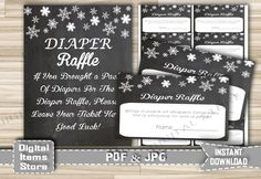 Baby Shower Diaper Raffle Winter Chalkboard - Diaper Raffle Card and Sign Printable with Snowflake Chalkboard Theme - Instant Download - ch2 by DigitalitemsShop on Etsy