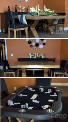 Dining table by day, poker table by night!- Dining table by day, poker table by night! Dining table by day, poker table by night! Diy Table, Dining Table, Pokerface, Basement Furniture, Cool Tables, Tasting Table, Man Room, Table Games, Diy Wood Projects