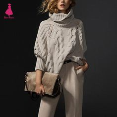 Loose Sweater Retro High Roll Neck Ribbed Cable Knit Panel Fit Irregular Jumper Vintage Ethnic Trendy Women Tops
