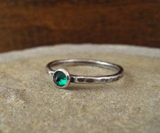 Items similar to Hammered Silver Emerald Ring Thin Band Silver Stack Promise Engagement Ring May Birthday Birthstone Lab Emerald Jewelry on Etsy Silver Pearl Ring, Silver Pearls, Emerald Jewelry, Hammered Silver, Promise Rings, Other Accessories, Celtic Knots, Jewels, Engagement Rings
