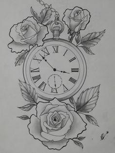 Tattoo R tattoo- Tätowierung R tattoo Tattoo R tattoo - Old Clock Tattoo, Clock And Rose Tattoo, Clock Tattoo Design, Tattoo Design Drawings, Flower Tattoo Designs, Tattoo Sketches, Clock Tattoos, Pocket Watch Tattoos, Arm Tattoo