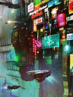 "scifigeneration: ART: ""HUB"" by Amaury Bündgen - Cyberpunk Images Arte Cyberpunk, Cyberpunk Aesthetic, Cyberpunk City, Cyberpunk 2077, Futuristic City, Sci Fi Wallpaper, Space Opera, Sci Fi City, Sci Fi Environment"