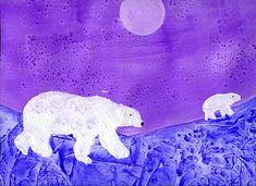 Jääkarhu, öljypastellit ja talvimaisema vesiväreillä