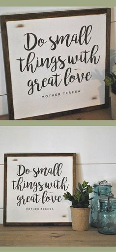 """Mother Teresa quote art """"Do Small Things with Great Love"""" sign, Farmhouse wall art, Farmhouse decor, Rustic wall art, Rustic Decor, gift idea, shabby chic #ad #affiliatelink"""