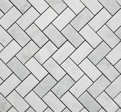 Herringbone floor tile Honed Marble, Marble Mosaic, Carrara, Mosaic Tiles, Guest Bathrooms, Master Bathroom, Bathroom Ideas, Kitchen Tiles, Kitchen Reno