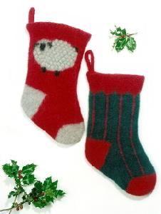 Felt Christmas Stocking Pattern Knitting by SimplyCraftSupplies Christmas Stocking Pattern, Knitted Christmas Stockings, Knit Stockings, Christmas Knitting, Weaving Patterns, Knitting Patterns, Crochet Patterns, Pattern Pictures, Knit Or Crochet