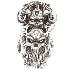 [Visit to Buy] Devil octopus man Temporary Tattoos Sticker Waterproof Body Art Flash Tattoo Fake Tatoo Henna Tatto Pirates of the Caribbean #Advertisement