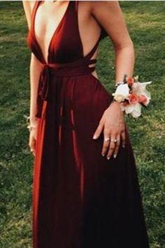 Sexy Burgundy Deep V-Neck Sleeveless Floor-Length Backless Prom Dresses uk PM681