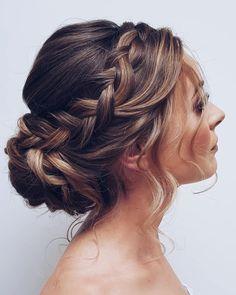 Wedding Hairstyles For Medium Hair, Bride Hairstyles, Pretty Hairstyles, Indian Hairstyles, Natural Hairstyles, Braided Wedding Hairstyles, Braided Upstyles, Glasses Hairstyles, Hairstyle Ideas
