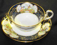 AYNSLEY PINK DORIS ANTIQUE PARADISE BIRD TEAL BLUE TEA CUP AND SAUCER #AynsleychinaEngland