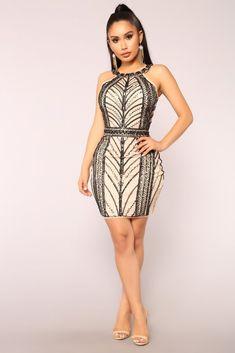 Star Power Beaded Dress - Black Nude. Fashion Nova Models 4ee3e69301dc