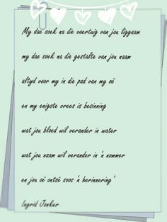 Afrikaans, Miss You, Poetry, Journal, Words, I Miss U, I Miss You, Poetry Books, Poem