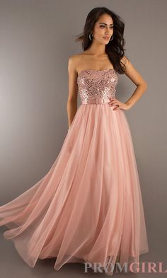 Floor Length Strapless Gown with Belted. would be a stunning recital dress. simple and that peachy, champagne color i've been looking for!