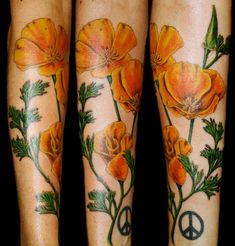 The vibrant yellow poppy sleeve tattoo. The poppy flowers come in various shades of colors, orange, red and yellow colors. Yellow poppies signify wealth and success in the Victorian language of flowers.