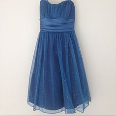 Adorable Glitter Blue Dress This dress is super cute! I'm not usually one for glitter but I loved wearing it. It has a tie in the back and adjustable rhinestone straps. Dresses Prom
