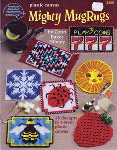 Plastic Canvas Mighty Mug Rugs, Plastic Canvas Patterns, 15 Mug Rug Patterns in 7 Mesh Plastic Canvas, American School of Needlework 3205 by OnceUponAnHeirloom on Etsy