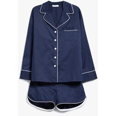 Sleeper Navy Pajama Shorts Set (275 CAD) ❤ liked on Polyvore featuring intimates, sleepwear, pajamas, long sleeve pajama set, long sleeve sleepwear, long sleeve pajamas and long sleeve pyjamas