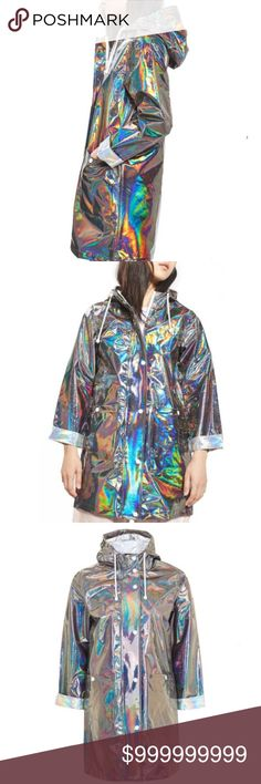 Topshop iridescent rain jacket Topshop lightweight and roomy rain jacket with an iridescent finish. - Front zip closure with snap storm-flap - Drawstring hood - Long sleeves - Front snap-patch pockets - Unlined - Lightweight - 100% polyurethane - Spot clean NWT from non smoking home. 2 sizes available Topshop Jackets & Coats