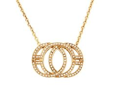 18k yellow gold Di Modolo pendant necklace with diamonds. The pendant has approximately 0.88ct of diamonds.
