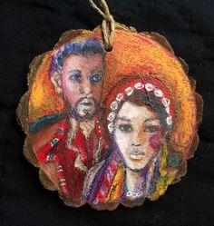 "Folk art version of native #Ukrainian dress by Jan Paron, 2016 (3"" Round) portraits #portraitpainting #loosepainting #portraits #Ukraine"