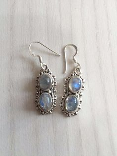 Colorz Of Earth: Rainbow Moonstone Gemstone Earrings in 925 Sterling Silver #ColorzOfEarth #DropDangle