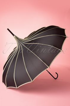 Bettie Page Clothing - 50s Dots of Rain on My Pagoda Umbrella with Black and White Polkadot