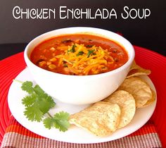 chicken enchilada soup.  Love soup! Love enchiladas.  Gotta love this!