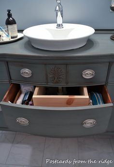 "Postcards from the Ridge: ""Why be normal?"" The upcycling of our dining room buffet into our master bath vanity."