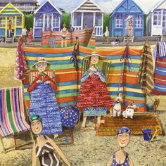 'Beach Knitters' By Stephanie Lambourne. Blank Art Cards By Green Pebble. www.greenpebble.co.uk