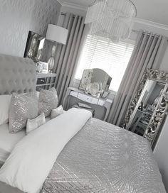 The Fundamentals Of Silver Bedroom Decor Ideas Grey Revealed 44 Silver Bedroom, Comfortable Bedroom, Bedroom Makeover, Bedroom Design, Luxurious Bedrooms, Interior Design Bedroom, Bedroom Decor, Silver Bedroom Decor, Small Bedroom