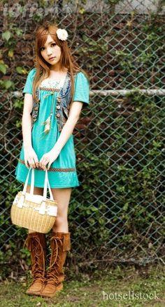 boots, dress, flower - turquoise dress - hippy look - preteen - tween clothing - tween fashion - tween girls