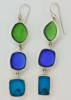 Triple Drop Earrings Sea Glass                                                                                                                                                     More