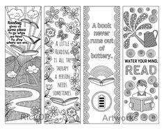 8 Coloring Bookmarks with Quotes on Books and Reading #reading #quotes #bookmarks