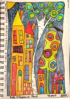 Gollywobbles: Inktense Watercolor pencils in my sketchbook (Screaming Mimis) Pen And Watercolor, Watercolor Pencils, Watercolor Sketchbook, House Quilts, House Drawing, Arte Popular, Naive Art, Whimsical Art, Art Plastique