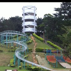 Great roller slide in Okinawa with nets to climb into at the bottom. Okinawa parks could not be beat.