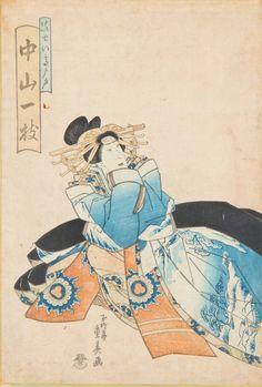"Kuniyoshi Japanese Woodblock Print, framed. Size: 14.5"" x 10"", 37 x 25 cm (sight), 22.25"" x 15.5"", 57 x 39 cm (frame)."