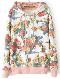 Shop White Hooded Long Sleeve Floral Loose Sweatshirt online. Sheinside offers White Hooded Long Sleeve Floral Loose Sweatshirt & more to fit your fashionable needs. Free Shipping Worldwide!