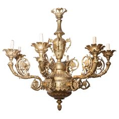 Very Large French Louis XVI Style Bronze Eight-Light Chandelier