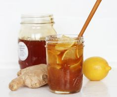 Home Cold & Flu Remedy -  Ingredients:  • Fresh lemon  • Fresh ginger  • Raw honey*     Directions: • Slice lemon into quarters and pack into jar  • Grate ginger, and add to lemon (the amount is up to you - the more the better)  • While stirring, fill jar with honey     To Use: • Add 1 tablespoon (or more to taste) to hot water and stir  Jar can be stored in the fridge for up to 3 months.