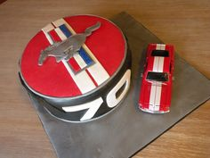 Ford Mustang cake - cake by Dani Johnson Car Cakes For Men, Cakes For Boys, Men Cake, 70th Birthday Cake, Cars Birthday Parties, Birthday Ideas, Mustang Cake, Car Themes, Specialty Cakes