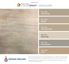I found these colors with ColorSnap® Visualizer for iPhone by Sherwin-Williams: Prairie Grass (SW 7546), Portico (SW 7548), Universal Khaki (SW 6150), China Doll (SW 7517), Rushing River (SW 7746), Latte (SW 6108).