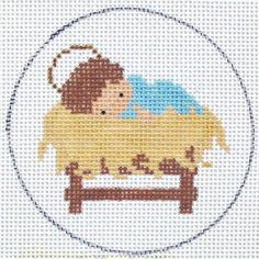 Babe in a Manger Christmas Ornament Hand Painted Needlepoint Canvas Nativity Ornaments, Cross Stitch Christmas Ornaments, Xmas Cross Stitch, Cross Stitch Needles, Christmas Cross, Cross Stitch Charts, Cross Stitch Designs, Cross Stitching, Cross Stitch Embroidery