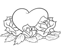 heart with roses coloring pages - Rose Coloring Pages